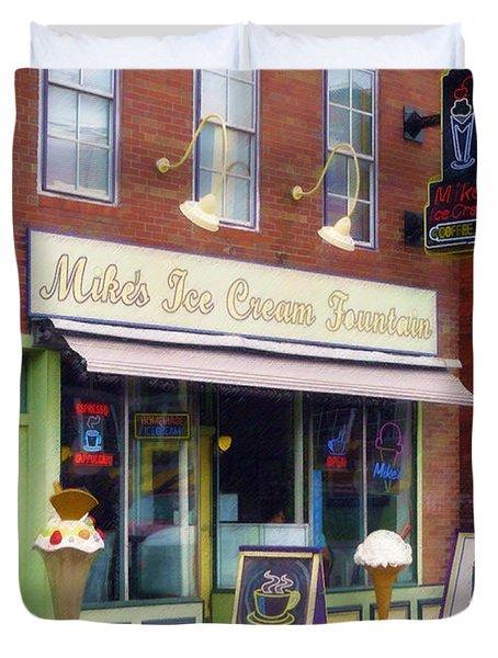 Mike's Ice Cream Fountain Duvet Cover by Sandy MacGowan