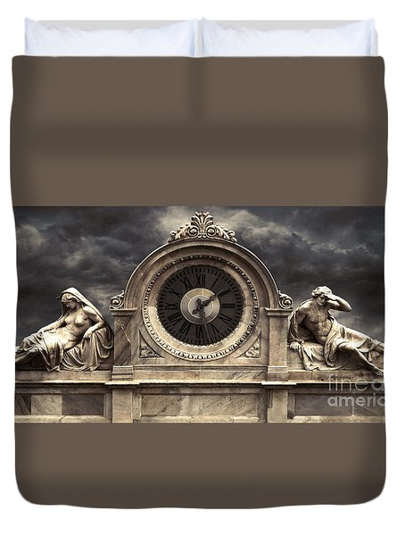 Milan Clock Duvet Cover by Gregory Dyer