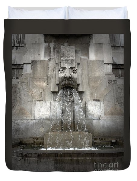 Milan Train Station Fountain Duvet Cover by Gregory Dyer