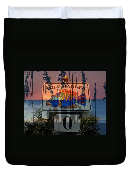 Duvet Cover featuring the photograph Mile Marker 0 Sunset by David Lee Thompson