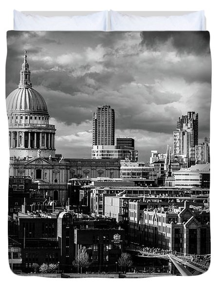 Milennium Bridge And St. Pauls, London Duvet Cover