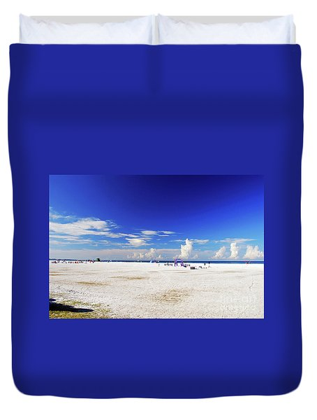 Duvet Cover featuring the photograph Miles And Miles Of White Sand by Gary Wonning