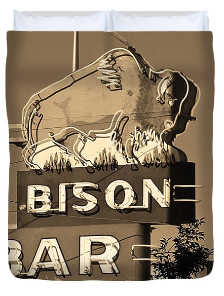 Miles City, Montana - Bison Bar Sepia Duvet Cover