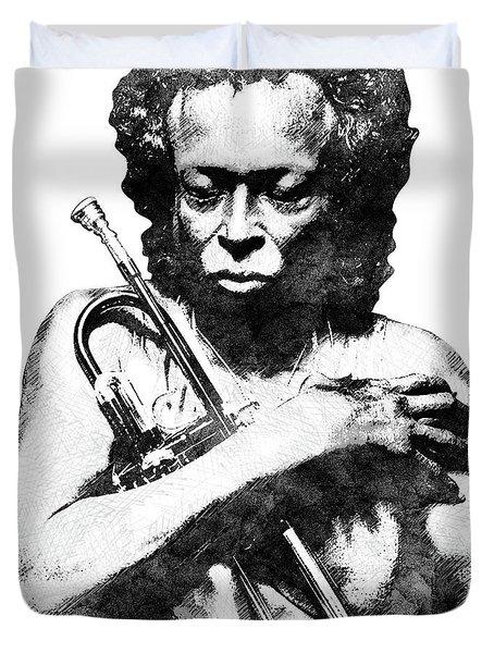 Miles Davis Bw  Duvet Cover by Mihaela Pater
