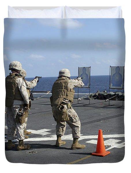 Military Policemen Train Duvet Cover by Stocktrek Images