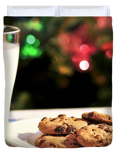 Milk And Cookies For Santa Duvet Cover
