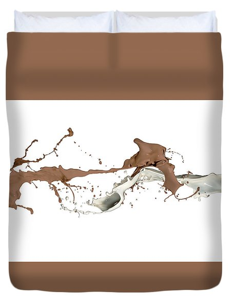 Milk And Liquid Chocolate Splash Duvet Cover