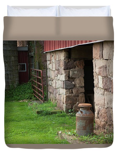 Milk Can At Stone Barn Duvet Cover