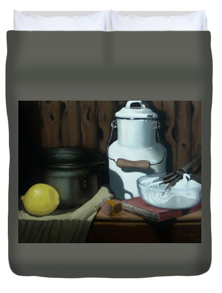 Duvet Cover featuring the painting Milk Jug Meringue by Susan Roberts