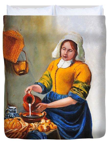 Milk Maid After Vermeer Duvet Cover by Enzie Shahmiri