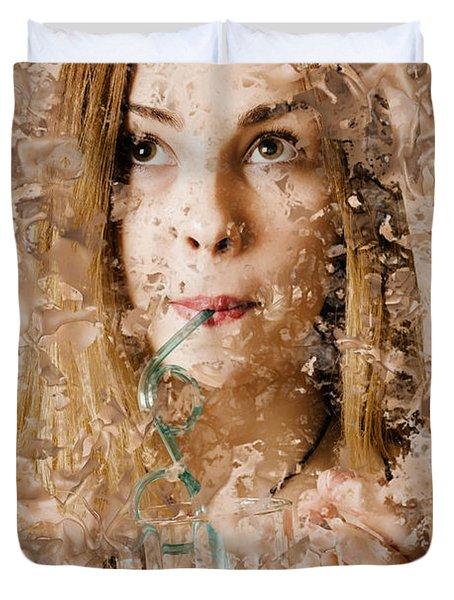 Milk Shake Pin-up Woman. Restaurant Art  Duvet Cover