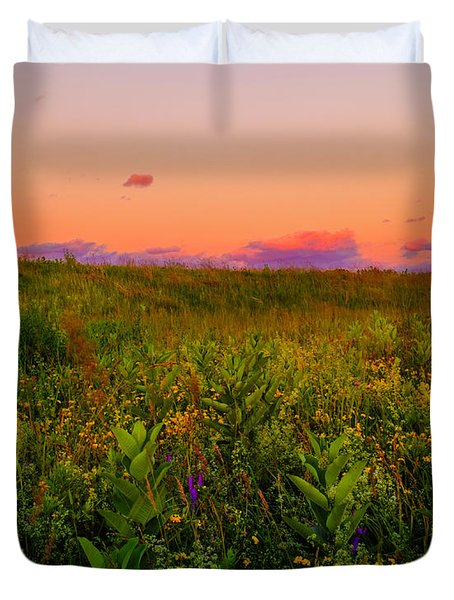 Milkweed Meadow Twilight Duvet Cover
