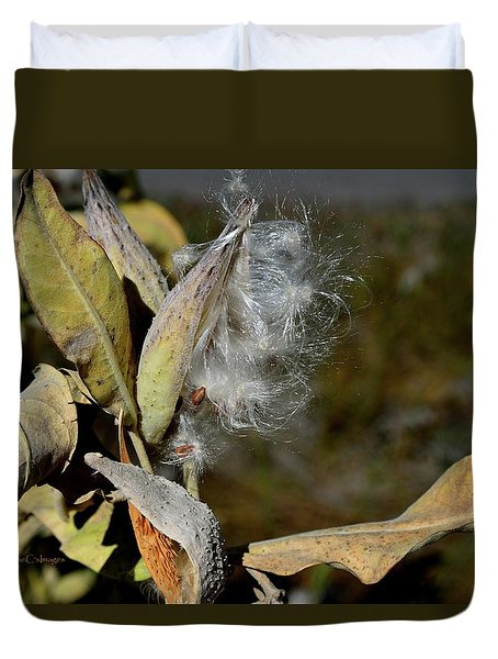 Milkweed Seeds Taking Flight Duvet Cover