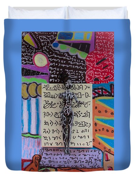 Duvet Cover featuring the painting Milky Oat Herbal Tincture by Clarity Artists