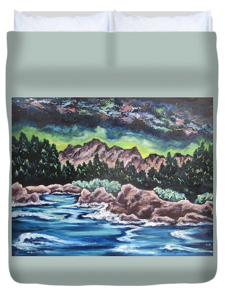 Duvet Cover featuring the painting Milky Way 2 by Cheryl Pettigrew