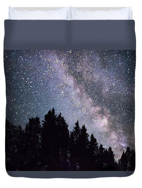 Milky Way Above The Bighorns Duvet Cover