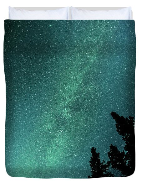 Milky Way Above The Trees Duvet Cover