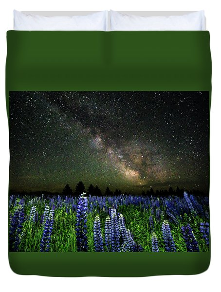 Milky Way And Lupine Duvet Cover by Cody Gould
