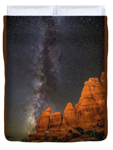 Milky Way And Navajo Rocks Duvet Cover