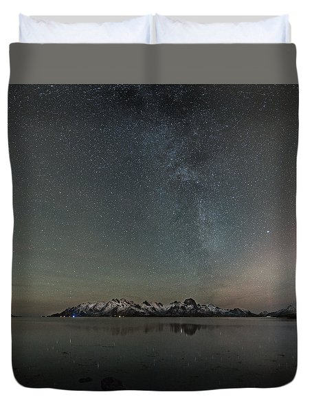 Milky Way And Northern Lights I Duvet Cover