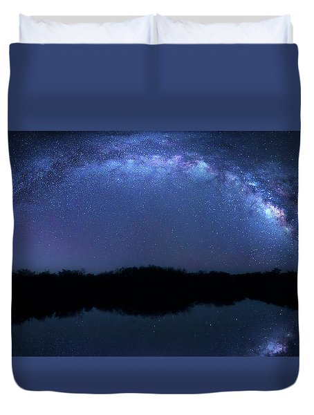 Duvet Cover featuring the photograph Milky Way At Mrazek Pond by Mark Andrew Thomas