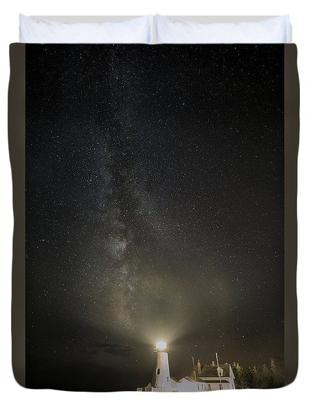 Milky Way At Pemaquid Light Duvet Cover