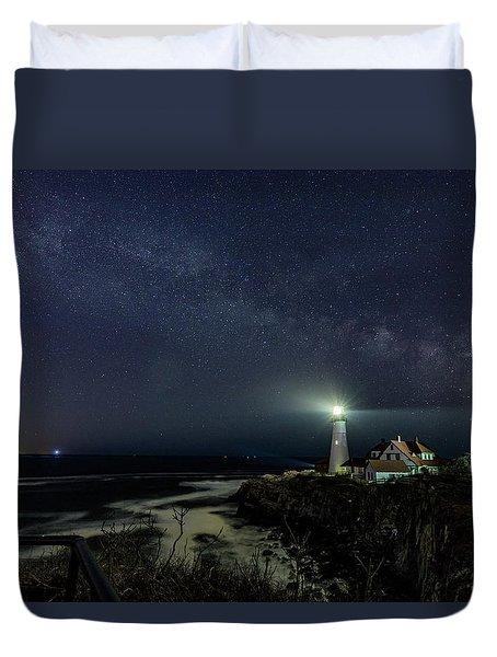 Milky Way At Portland Head Light Duvet Cover