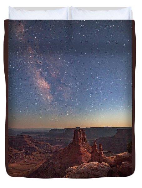 Milky Way At Twilight - Marlboro Point Duvet Cover