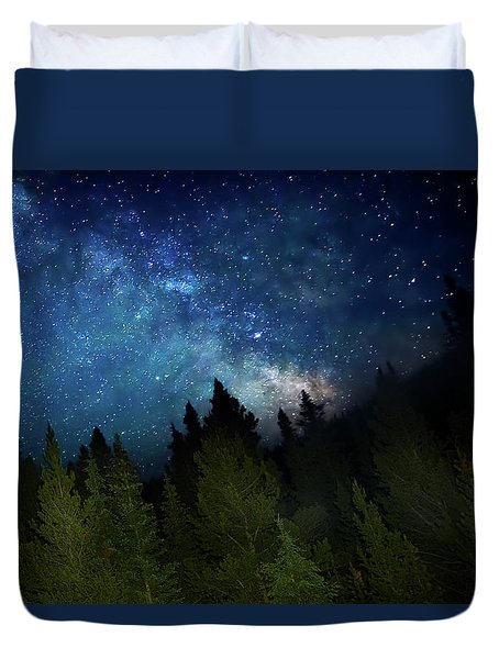 Milky Way On The Mountain Duvet Cover