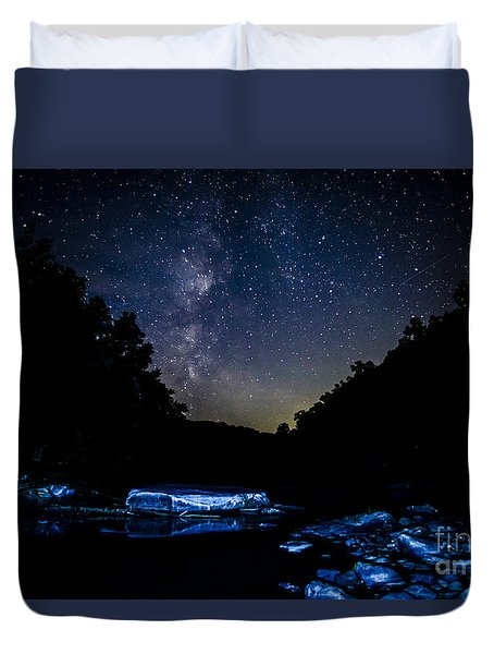 Milky Way Over Baptizing Hole Duvet Cover by Thomas R Fletcher