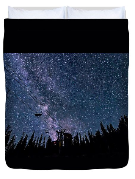 Milky Way Over Chairlift Duvet Cover