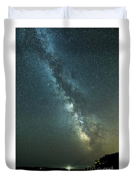 Milky Way Over Clams Flats Duvet Cover by Patrick Fennell