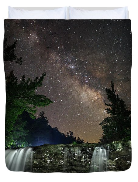 Milky Way Over Falling Waters Duvet Cover