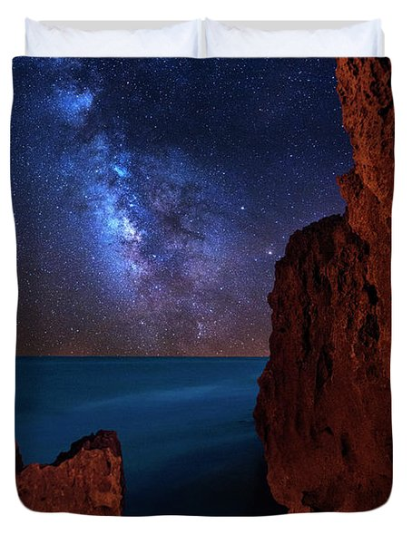 Milky Way Over Huchinson Island Beach Florida Duvet Cover