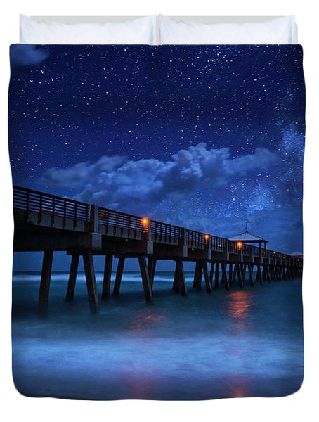 Milky Way Over Juno Beach Pier Under Moonlight Duvet Cover