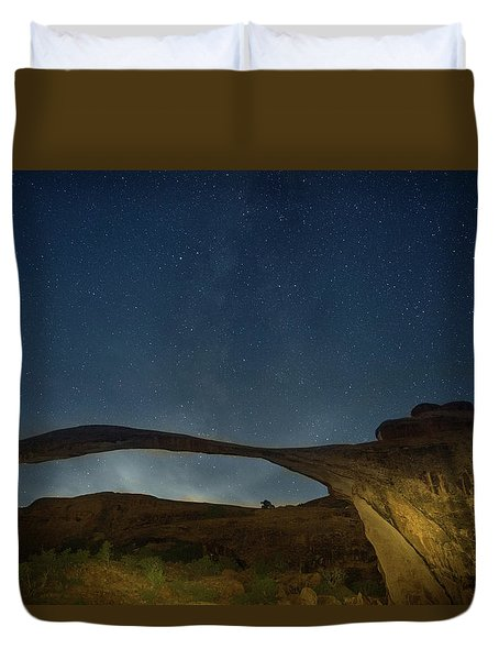 Milky Way Over Landscape Arch Duvet Cover