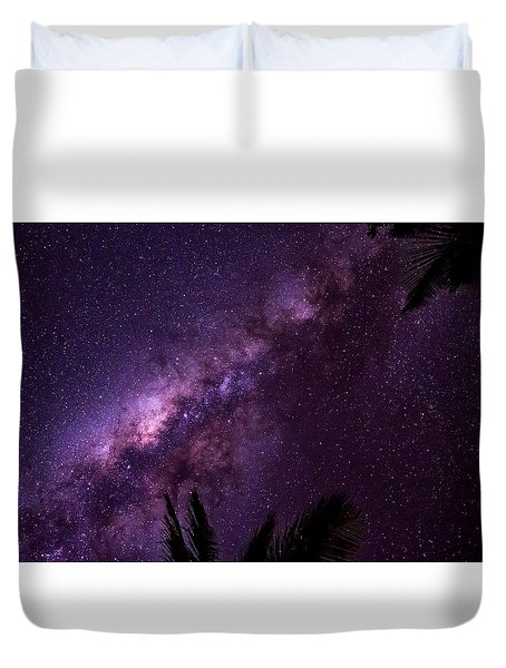 Milky Way Over Mission Beach Narrow Duvet Cover by Avian Resources