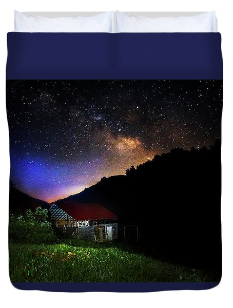 Milky Way Over Mountain Barn Duvet Cover