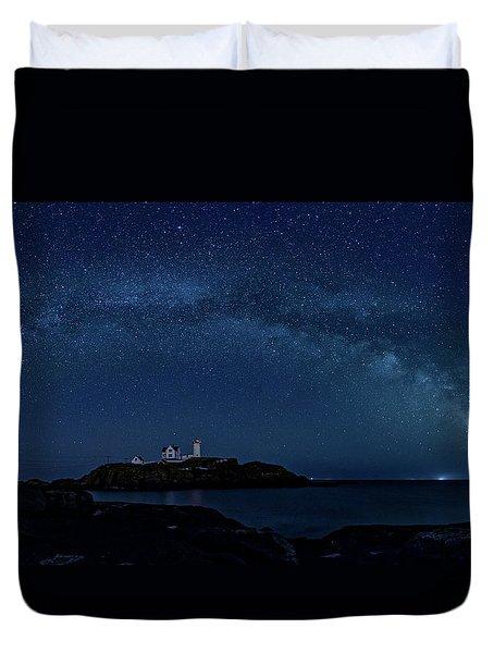 Milky Way Over Nubble Duvet Cover