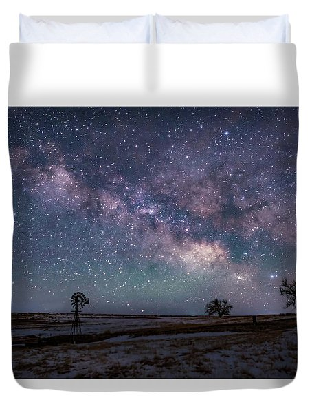 Milky Way Over The Prairie Duvet Cover