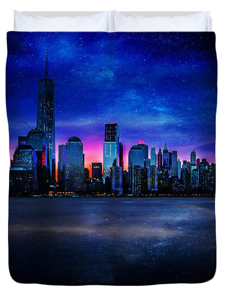 Milkyway Over Manhattan Duvet Cover