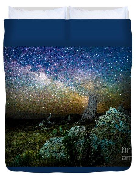 Milkyway Over Mono Lake Duvet Cover