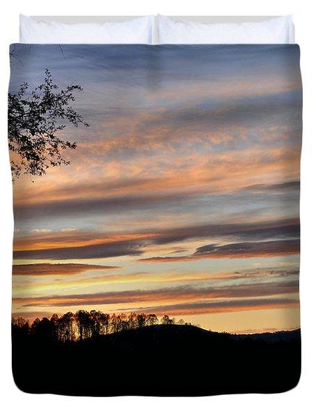 Mill Creek Lake Sun Set Duvet Cover by Todd Hostetter