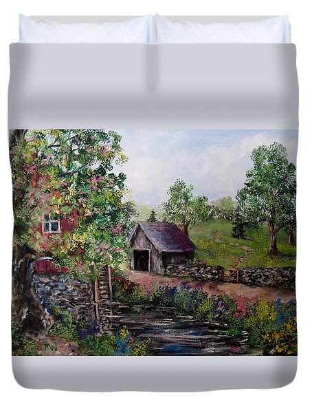 Mill Pond Road Duvet Cover by Megan Walsh