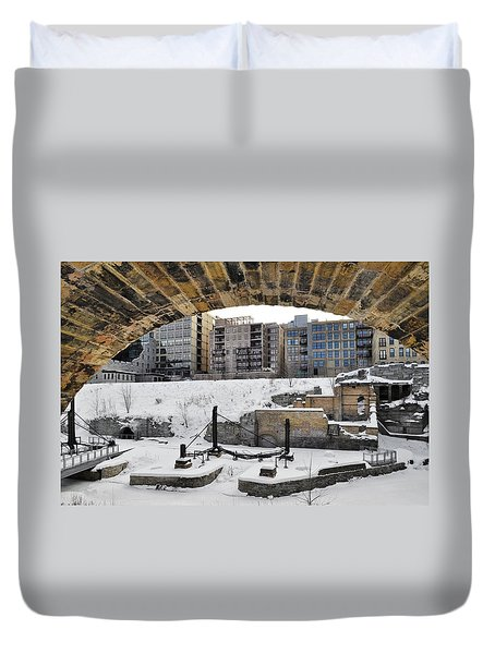 Mill Ruins Park Winter Duvet Cover