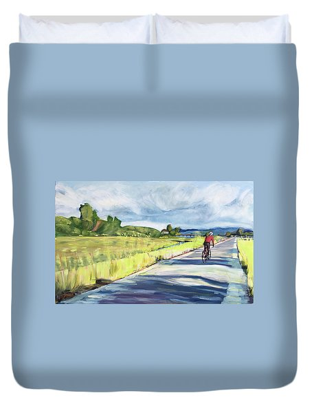 Mill Valley Bike Path Duvet Cover by Colleen Proppe