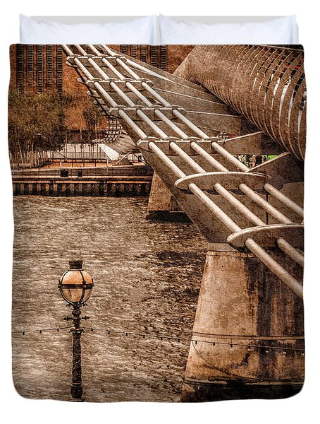 London, England - Millennium Bridge Duvet Cover