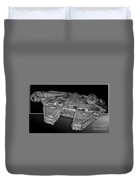 Millennium Falcon Attack Duvet Cover by Kevin Fortier