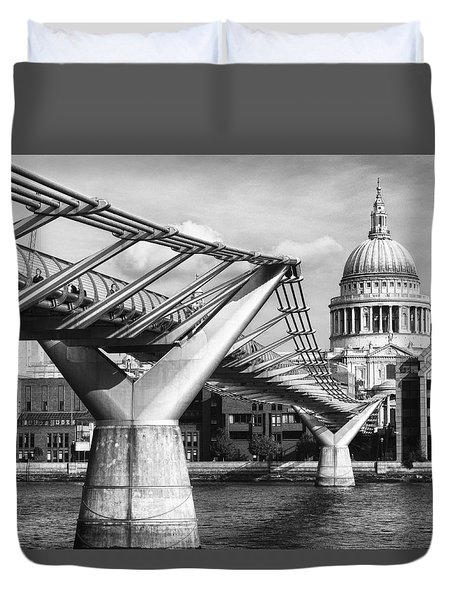 Millennium Footbridge Duvet Cover by Shirley Mitchell