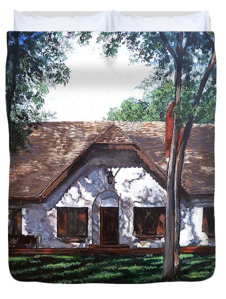 Duvet Cover featuring the painting Miller Homestead by Tom Roderick